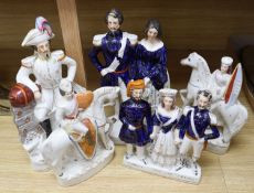 Five mid 19th century Crimean War related Staffordshire figure groups including EN. Napoleon,