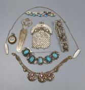 Assorted white metal and other jewellery, etc, including 800 bookmark.