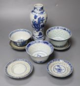 A Chinese blue and white baluster vase, 17cm, three Chinese bowls and four stands