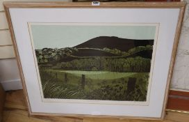 Robert Tavener (1920-2004), artist proof print, Downs and Water Meadows, signed in pencil, 47 x