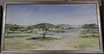 Peter C. Tonkin, oil on board, Ethiopian landscape, initialled and inscribed verso, 34 x 67cm