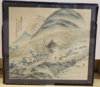 Chinese School, watercolour on silk, Figures in a mountain landscape, signed, 29 x 33cm