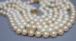 A single strand cultured pearl necklace and two simulated pearl necklaces.