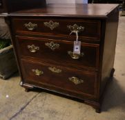 A George III style mahogany small chest, incorporating old timbers, width 60cm depth 47cm height
