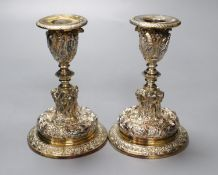 A pair of Elkington electrotype cast plated candlesticks, height 14cm