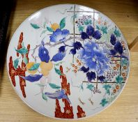 A large Imari charger, Meiji period, diameter 47cmCONDITION: Structurally good; gilded rim