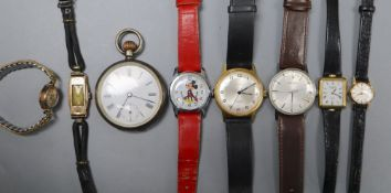 Assorted wrist watches including 9ct gold and a silver pocket watch.