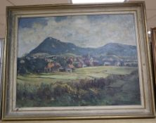 Wilhelm Kehrer (1892-1960), oil on board, View of an alpine town, signed, 43 x 56cm
