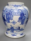 A Chinese blue and white baluster vase, height 33cmCONDITION: One oval chip to glaze,
