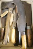 Mixed hand tools including a hatchet, together with the illustrated Encyclopedia of Woodworking Hand