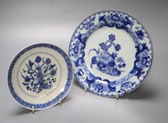 A Chinese porcelain saucer dish, 16.5cm and a Chinese export plate, 23cm