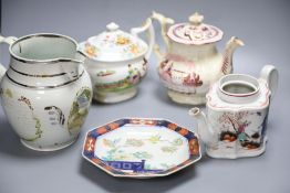 Early 19th century English table ware including Newhall type teapotCONDITION: Newhall-type teapot