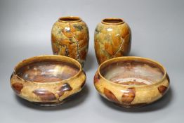 Doulton Natural Foliage Ware: a pair of bowls, 21cm, ovoid vases, 18cm
