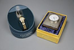 A lady's Citizen Eco-drive wrist watch and a modern silver cased timepiece.