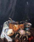 Ken Moroney (1949-), oil on canvas, Still life of vegetables and pots, 50 x 40cm, unframed signed,