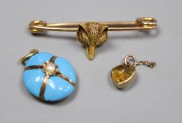 A Victorian yellow metal, turquoise and seed pearl set mourning pendant, 19mm, a yellow metal fox