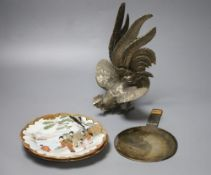 A pair of Japanese porcelain dishes, a similar hand mirror, a cockerel etc., tallest 26cm