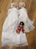 Two Armand Marseille bisque headed dolls and a similar Japanese geisha doll