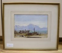 Conrad H.R. Carelli (Italian 1869-1956), watercolour, Italian lake scene, 17 x 25cm