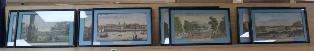 A near set of eight 18th century coloured engravings, Views of London and Paris, approximately 21