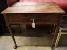 A George III mahogany pad foot side table, width 76cm depth 50cm height 71cm