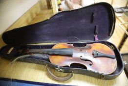 A late 19th century German violin unlabelled, cased