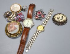 Mixed costume jewellery and watches including a micro mosaic brooch(a.f.).
