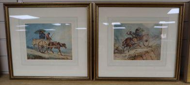 "John Heaviside ""Waterloo"" Clark (1771-1863), pair of watercolours, Scottish Carting Calamities,"