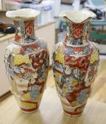 A pair of 19th century Satsuma vases, brocaded with figures, height 58cm (one a.f.)