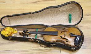 "A late 19th century German 1/2 size violin bears label ""Joseph Klotz Mittenwald"", cased"