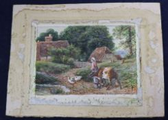 After Birket Foster, watercolour, Girl and calf in a landscape, bears monogram, 6.5 x 10cm,