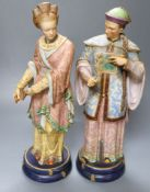 A pair of 19th century coloured bisque porcelain Oriental figures, height 38cmCONDITION: Female