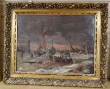 19th century English School, oil on canvas, Estuary scene in winter, 37 x 49cm