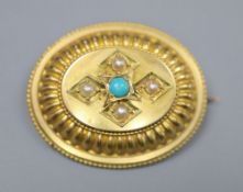 A Victorian yellow metal, turquoise and split pearl set oval brooch, 35mm, gross 7.9 grams.