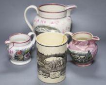 Three Sunderland pink lustre Pearlware jugs and a Sunderland Bridge creamware mug, tallest