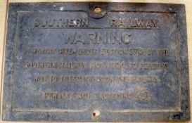 A cast iron Southern Railway warning sign, 40 x 62cm