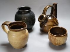 A collection of four pieces of high fired Studio pottery by Andrew Rudebeck, tallest