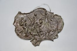 A Viennese cast bronze wall plaque, signed L. Fargoia?, stamped 1892, length 31cm