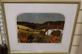 Robert Tavener (1920-2004), limited edition print, Cottage and Downs, signed, numbered 1/4, 27 x
