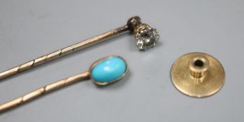 Two late Victorian sick pins- turquoise set and solitaire diamond set, longest 62mm, gross 2.5 grams