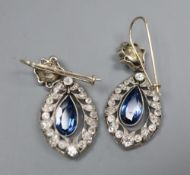 A pair of 1920's style white metal, sapphire and diamond set navette shaped drop earrings, 30mm,
