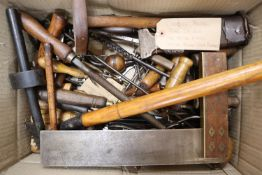 A box of assorted tools: 5 Sorby chisels2 chisel blades (Marple)3 chisels un-named1910 Blacksmith