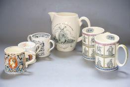 Commemorative ceramics including Coronation mug, 1937, designed by Dame Laura Knight, 8cm and a
