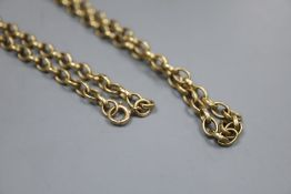 A 9ct oval link chain, 76cm, 30 grams.