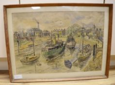 Arthur Beaumont, ink and watercolour, Boats at Newhaven, signed and dated 1965, 37 x 55cm