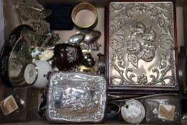 Mixed items including silver and enamel mounted glass scent bottles, silver buckle, costume
