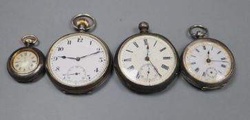 Three assorted white metal pocket watches and a fob watch.