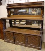 A large late Victorian oak aesthetic movement buffet sideboard, width 183cm depth 58cm height 180cm