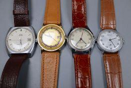 Four assorted wrist watches including Astral, Aurex & Timex.
