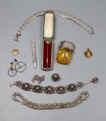 Assorted white metal jewellery, bracelets, brooch, etc